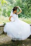 Pretty bride in a cowboy hat Stock Image