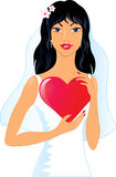 Pretty bride with heart Royalty Free Stock Images