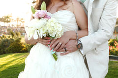 Pretty Bride on Her Wedding Day Outdoors Stock Photography