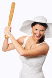 Pretty bride playing baseball Stock Photography
