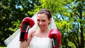 Pretty bride smiling at camera and wearing boxing gloves stock video footage