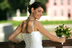 Pretty bride in white Stock Image