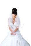 Pretty bride in a white dress Royalty Free Stock Photography