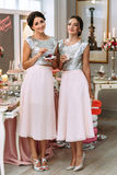 Pretty bridesmaids are eating sweets Royalty Free Stock Image