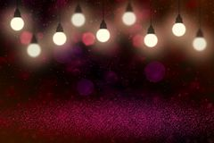 Pretty bright glitter lights defocused bokeh abstract background with light bulbs and falling snow flakes fly, festival mockup tex. Wonderful sparkling abstract royalty free illustration