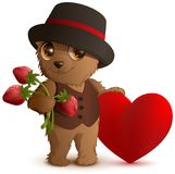 Pretty brown bear in hat holds strawberry berry and red heart symbol of love. Gift for Valentines Day. Isolated on white vector cartoon illustration Royalty Free Stock Photo