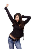 Pretty brown-hair girl having fun royalty free stock photography