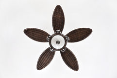 Pretty Brown Wicker Ceiling Fan against White Background Stock Photo