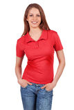 Pretty girl in blue jeans and a red T-shirt Stock Images