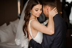 Pretty bride hugs a elegance bridegroom. Pretty brunette bride with a bouquet of roses hugs a elegance bridegroom, while he going to kiss her stock image