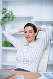 Pretty brunette businesswoman relax Royalty Free Stock Photography