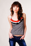 Pretty brunette in casual style clothing Stock Photos