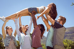 Pretty brunette crowd surfing Stock Images
