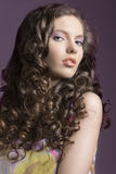 Pretty brunette with curly hair looks in to the lens Royalty Free Stock Images