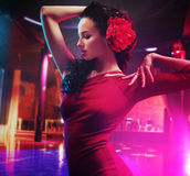 Pretty brunette dancer making a show Royalty Free Stock Images