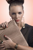 Fashion brunette takes the bag Stock Photography