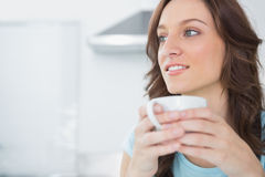 Pretty brunette drinking coffee Royalty Free Stock Images