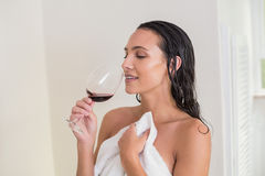 Pretty brunette drinking red wine Royalty Free Stock Photo