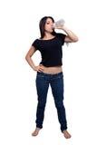 Pretty Brunette Drinks Water Stock Image