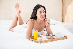 Pretty brunette eating her breakfast on bed Stock Photos