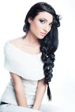 Pretty brunette with fashionable braids Stock Image