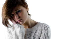 Pretty brunette feeling sad Stock Photo
