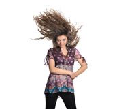 Pretty brunette with flying hair Stock Photos