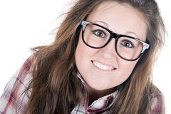 Pretty Brunette Geek Stock Photography