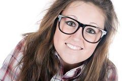 Pretty Brunette Geek Stock Photography