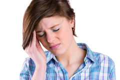 Pretty brunette getting a headache Stock Images