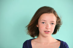Pretty brunette girl. Portrait of pretty young girl with short brown hair and braces Stock Image