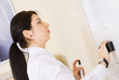 Pretty brunette girl cleaning whiteboard Stock Images