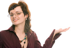 Pretty brunette girl in glasses portrait Stock Photography