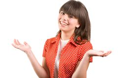 Pretty brunette girl laughing, isolated on white Royalty Free Stock Photography