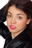 Pretty brunette girl with pink lipstick Royalty Free Stock Photos