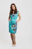 Pretty brunette girl portrait. Pretty happy brunette girl wearing blue dress royalty free stock images