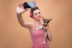 Pretty brunette  girl in retro style Royalty Free Stock Image