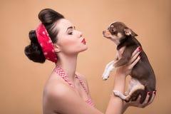 Pretty brunette  girl in retro style Stock Photos