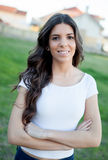 Pretty brunette girl smiling Royalty Free Stock Photography