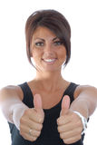 Pretty brunette girl thumbs up Stock Photo