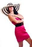 Pretty brunette girl wearing large hat stock photo