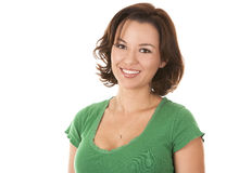 Pretty brunette in green Stock Photo