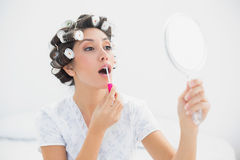 Pretty brunette in hair rollers holding hand mirror and applying lip gloss Stock Photo