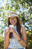 Pretty brunette having coffee to go Stock Photos