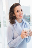 Pretty brunette having coffee by the window Stock Photography