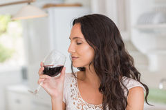 Pretty brunette having a glass of wine Royalty Free Stock Photo