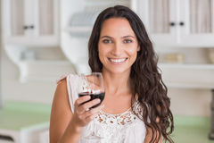 Pretty brunette having a glass of wine Stock Images