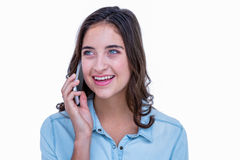 Pretty brunette having a phone call Royalty Free Stock Photos