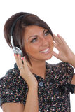 Pretty brunette with headphones Stock Photography