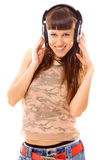 Pretty brunette in headphones Royalty Free Stock Image